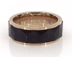 Black and Rose Tungsten 8MM Faceted Band by TRITON
