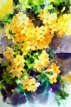 Yellow Florals by Adisorn Pornsirikarn Watercolor Pictures, Watercolor Sketch, Watercolor Artists, Watercolor Landscape, Watercolor And Ink, Watercolour Painting, Watercolor Flowers, Watercolours, Mellow Yellow