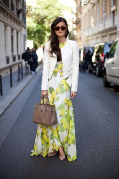 Street Style: Peony Lim is light and citrus-infused in a way femme maxi dress.