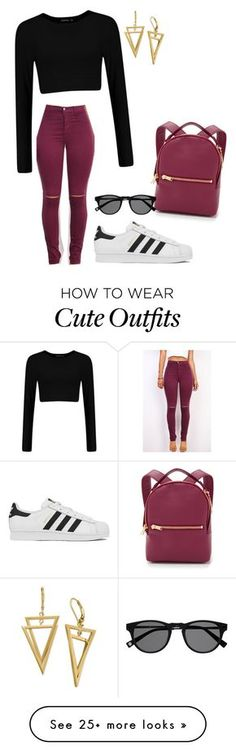 """Cute yet cozy casual outfit!"" by heyitselissa on Polyvore featuring adidas and Sophie Hulme"
