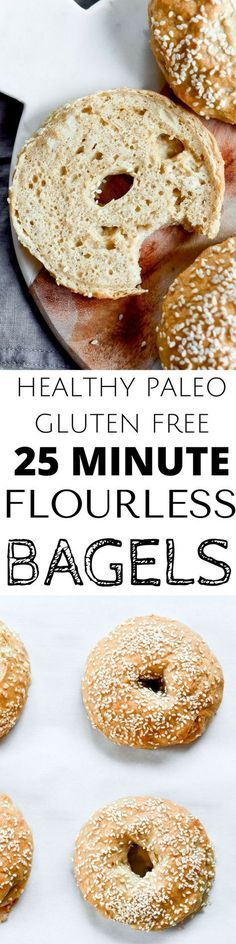 Bagels that are gluten free and paleo! Grain free, nut free, no yeast, and taste and look like the real thing! You wont even know they don't have grains! paleo dessert no eggs Easy Healthy Bread Recipe, Paleo Bread, Gluten Free Recipes, Low Carb Recipes, Cooking Recipes, Celiac Recipes, Paleo Flour, Flour Recipes, Healthy Recipes