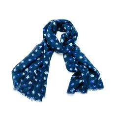 CUTE LADIES NAVY BLUE  DITSY BLOSSOM FLOWER FLORAL OVERSIZED PRINT SCARF WRAP