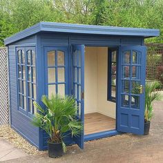 Building A Shed 537335799290799506 - This backyard shed, painted a soulful blue and full of light from windows on three sides, is a great example of a kit she shed. It's the perfect place to escape to for some yoga, art, or reading. Backyard Office, Backyard Studio, Backyard Sheds, Outdoor Sheds, Garden Sheds, Shed Office, Outdoor Office, Backyard Buildings, Backyard House