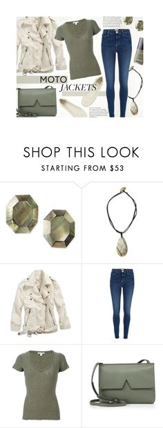 """""""#423 - Moto Jacket"""" by lilmissmegan ❤ liked on Polyvore featuring Viktoria Hayman, American Eagle Outfitters, River Island, James Perse, Vince, Tory Burch, Chanel and motojackets"""