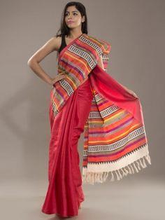 Handwoven & Blockprinted Multi-Striped Pink Tussar Silk Saree