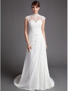 A-Line/Princess High Neck Court Train Chiffon Tulle Wedding Dress With Ruffle Lace Beadwork (002012176) - JJsHouse