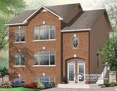 Triplex house Plan W3038 by DrummondHousePlans -  2 bedroom per unit triplex…