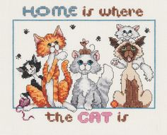 Cross Stitch Borders Free Cross Stitch Patterns with Feline Flair: Cat Cross Stitch Charts and Kits - Free cat cross stitch patterns for your feline loving friends and their furry little overlords. Cat Cross Stitches, Halloween Cross Stitches, Cross Stitch Charts, Counted Cross Stitch Patterns, Cross Stitch Designs, Cross Stitching, Cross Stitch Embroidery, Embroidery Patterns, Hand Embroidery
