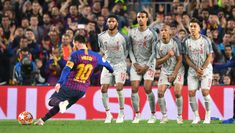 Lionel Messi of Barcelona scores his sides third goal from a free kick during the UEFA Champions League Semi Final first leg match between Barcelona and Liverpool at the Nou Camp on May 2019 in Barcelona, Spain. Anfield Liverpool, Liverpool Soccer, Liverpool Fans, Lionel Messi, Messi Vs, Liverpool Champions League Final, Champions League Semi Finals, Liverpool Fc Wallpaper, Champs