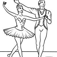 Desenho de Casal dançando balé para colorir