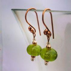 Apple Tini anyone? Designer Earrings, Glass Beads, Pearl Earrings, Apple, Pearls, Handmade, Jewelry, Apple Fruit, Pearl Studs