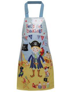 Modrá klučičí zástěra na vaření s pirátským motivem Cooksmart  199 Kč #dárky #vánoce #děti #rodina #tip3dmámablog.cz