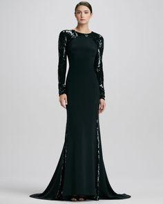 Sequined-Sleeve Silk Gown by Carolina Herrera at Neiman Marcus.