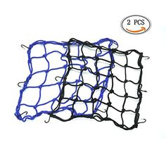 IDS Cargo Net Bag for Motorcycle, Bungee Luggage Net Featuring 6 Adjustable Hooks, 4040cm, Black, Blue, 2 Pcs  Easy to install and remove.  6 metal hooks to fix the luggage or cargo.  Can act as a net carrier bag to store some cargo  Can be used to cover the hemlet or other loads on the back seat of your motorcycle or bike.  Great for camping, fishing, biking or just handy to keep one in your car trunk or saddlebags.