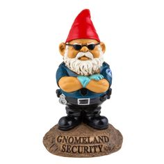 Please take all metal objects of your pockets & have your ID ready, our frisky Gnomeland Security Garden Gnome is not going to let any riff-raff happen while he's on the clock!  Frequent flyers will instantly recognize this guy.  Our gnome nonsense Gnomeland Security garden statue promises to use his authority for good, even if it means making you dump out a perfectly good bottle of water before getting to the geraniums.  A hilarious take on the conventional garden gnome.  A terrific gift…