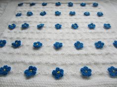 Baby blanket forget me not  white baby blanket  by MariskaPatterns