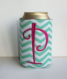 Monogrammed Custom Can holder aqua Chevron Koozie   by Laa766, $7.00
