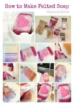 How to Make Felted Soap ~ tutorial Felted Soap Tutorial, Diy Tutorial, Diy Shows, Needle Felting Tutorials, Wet Felting, Home Made Soap, Felt Art, Handmade Soaps, Felt Crafts