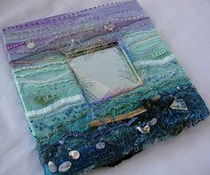 Mixed media , embroidered and embellished mirror  SOLD