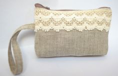 ON SALE Small Purse Rustic Fabric Natural Linen Beige Bag Cotton Lace Pouch Zippered Women by MyGlassLampwork on Etsy