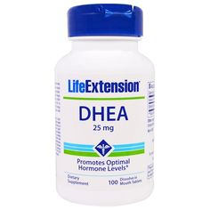 Life Extension, DHEA, 25 mg, 100 Dissolve in Mouth Tablets Womens Health Care, Vitamins For Kids, Bone Health, Women's Health, Sports Food, Life Extension, Resistance Workout, Cardiovascular Health, Natural Herbs