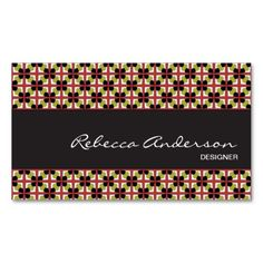 Sold! Geometric pattern maroon, olive green, & black business card template