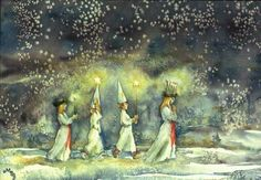 The morning of Saint Lucia. (A Swedish Christmas tradition that take place the of December.