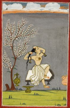 A lady seated on a stool in a garden, Pahari, Bilaspur, India.. mid-late 18th C.  Best view: http://www.sothebys.com/content/dam/stb/lots/L14/L14502/337L14502_7NB7C.jpg
