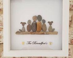 Cuadro del arte del guijarro familia de hechos a mano personalizados
