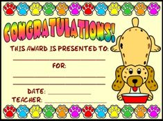 "FREE DOWNLOAD: Download this free ""dog reading award certificate AND ""matching 5 page bulletin board banner"" AND a matching ""dog sticker chart"" on Unique Teaching Resources: http://www.uniqueteachingresources.com/incentive-and-sticker-charts.html (FREE!)"