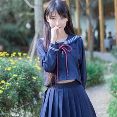 2018夏jepanese女子校生かわいいセーラー服costum制服gilrドレスセット綿女性ブロード制服