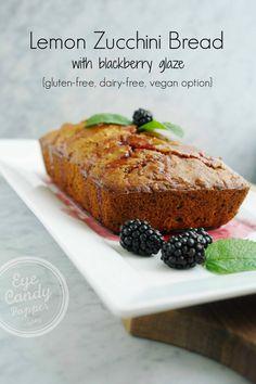 Lemon zucchini bread with blackberry glaze (gluten-free, dairy-free, vegan option).