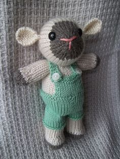 Hand Knitted Toy Lamb Boy Green Overalls