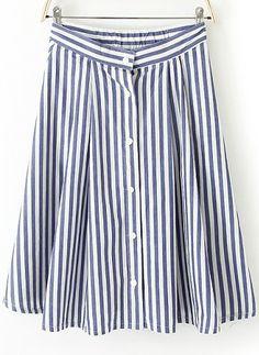 new fashion Women  s elegant blue white Stripes single breasted A line  Skirt preppy style casual slim Saia 1158 ca0ee01655b88