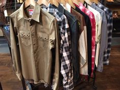 Warm up your closets with heat-generating flannel or denim western shirts from Rockmount Ranchwear, Levi's Vintage Clothing or Dixon Rand.