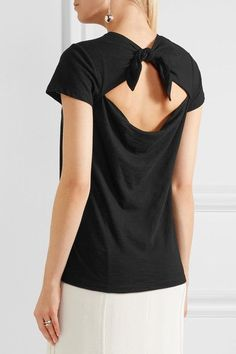 Proenza Schouler - Tie-back Cotton-jersey T-shirt - Black - x small
