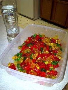 I don't drink and gummy bears gross me out, but I'm repinning this recipe (gummy bears made alcoholic by marinating them in vodka) because I totally know people who would have done this in college.