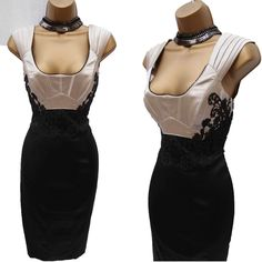 Exquisite KAREN MILLEN Mocha Black Lace Satin Cocktail Wiggle Pencil Dress 6 UK  | eBay