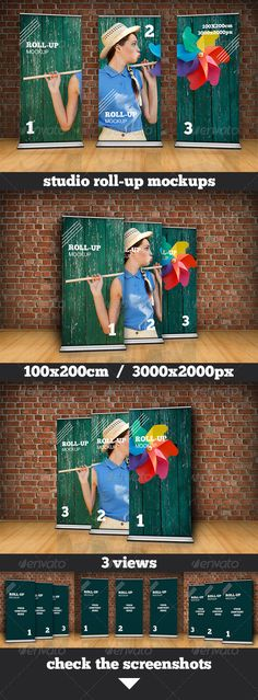 Studio Roll Up Mockup 100x200 cm — Photoshop PSD #photorealistic #stand • Available here → https://graphicriver.net/item/studio-roll-up-mockup-100x200-cm/3848280?ref=pxcr