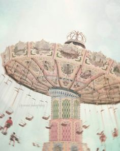 Pink Carnival Art - Carnival Dreams - Dreamy Pastel Pink Blue Mint Whimsical Fair Ride Photography Child Baby Nursery Pastel Art
