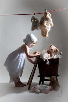 mini model - it's washing day - studio photography vintage style by Jana Bath