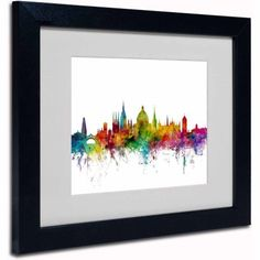 Trademark Fine Art Oxford England Skyline II Canvas Art by Michael Tompsett, Black Frame, Size: 16 x 20, Multicolor