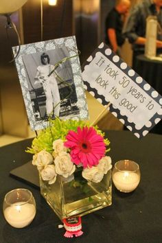 Photo centerpieces for 50th birthday party decorations.  See more decorations and 50th birthday party ideas at www.one-stop-party-ideas.com