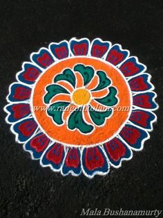 Freehand design colour kolam done by Mala Bushanamurty Rangoli Patterns, Rangoli Kolam Designs, Simple Rangoli, Bridal Mehndi Designs, Henna Designs, Easy Chalk Drawings, Colour Rangoli, Peacocks, Mandala Design