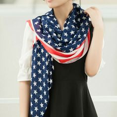 USA Flag Soft Chiffon Scarf , 66.7% discount @ PatPat Mom Baby Shopping App