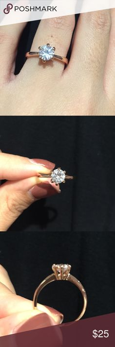 Rose gold plated solitaire CZ Ring Rose gold plated solitaire CZ Ring size 7 about 1/2 carat Jewelry Rings