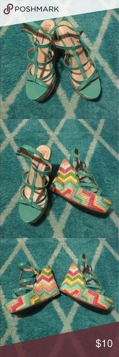 Super cute wedges. Multicolored wedge heels Steve Madden Shoes Platforms