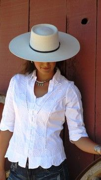 Gretty Zueger 3/4 Sleeve 100% Cotton White Blouse