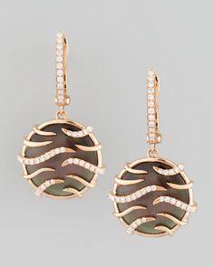 O5431 Frederic Sage Luna Mini 18k Rose Gold Diamond Mother-of-Pearl Earrings, Black #FredericSage