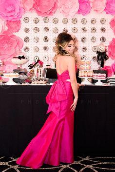chanel bridal shower, decor, ideas, wedding, decor, idea, pink, jovani gown, bridal shower dress, attire, bride to be, wedding, detachable skirt, evening gown, fuchsia pink, Chanel bridal shower, donut wall, striped donuts, chanel themed dessert, donuts, giant bow  www.baysstylediary.com